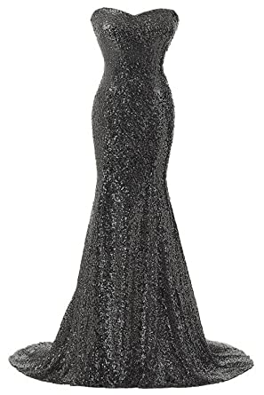 93bc9c30062 Rongstore Women s Strapless Sweetheart Mermaid Sequins Long Evening Gown  Black US2