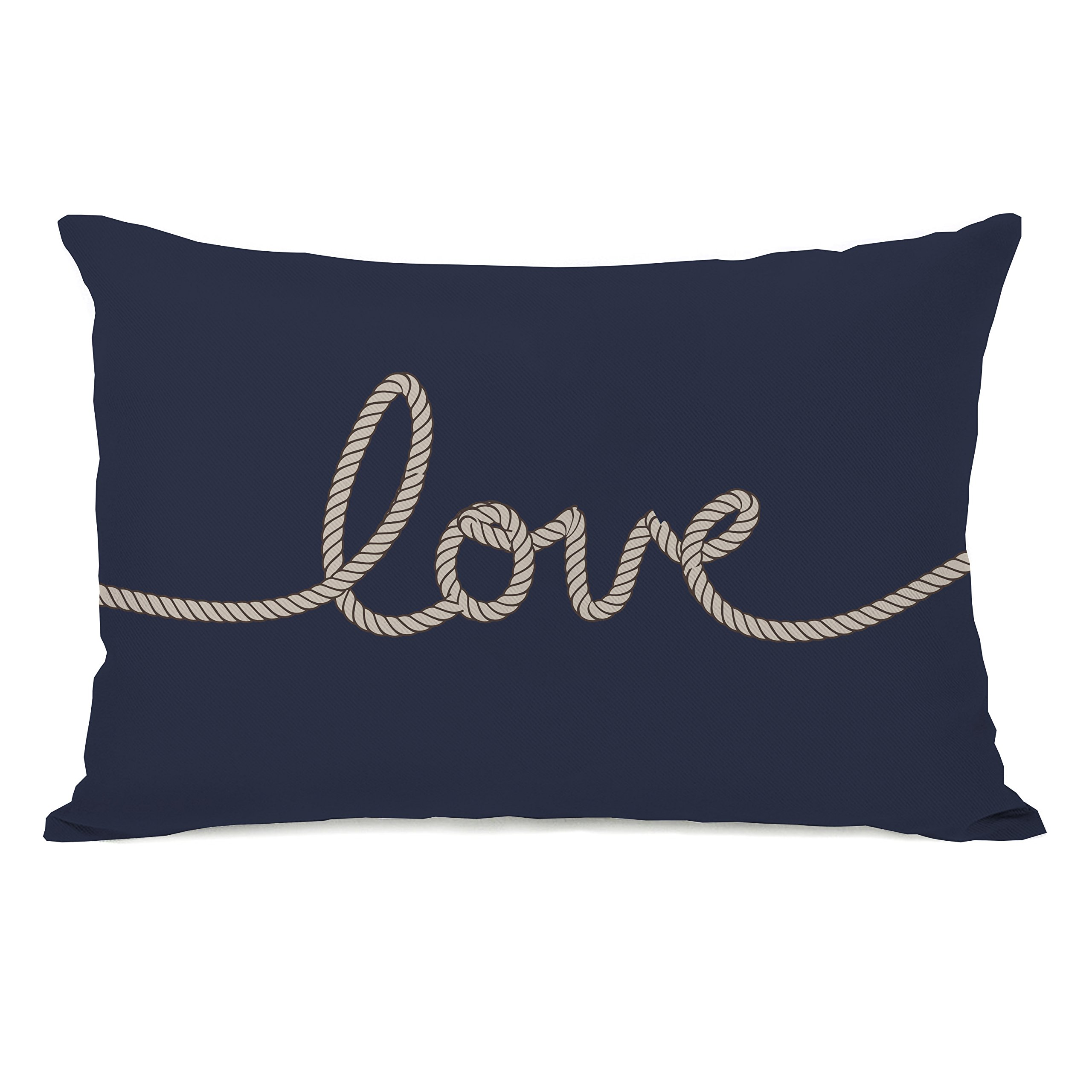 One Bella Casa Love Rope Lightweight Duvet Cover by OBC, Twin, Navy/Tan
