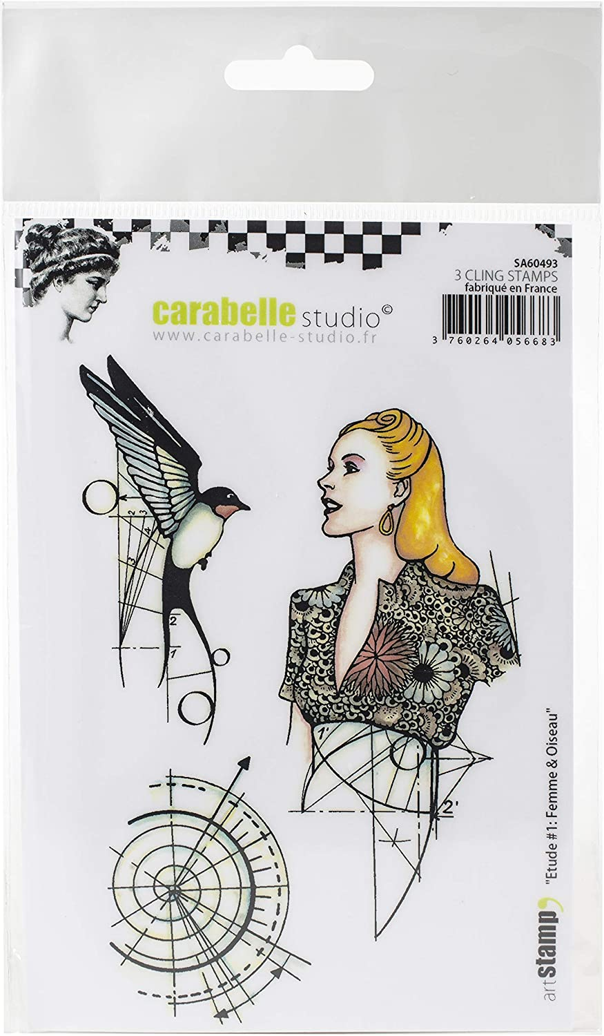 Girl /& Bird us:one size Etude #1 CARABELLE STUDIO CLING STAMP GIRL BIRD