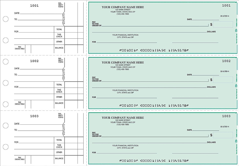 CheckSimple 3-Per-Page All-Purpose Manual Business Checks 50 Checks - Custom with Stub Voucher 2-Part