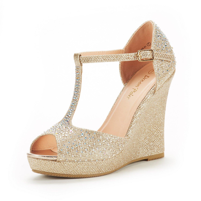 DREAM PAIRS Women's Angeline-01 Gold Glitter Fashion Dress Wedges Platform Heel Peep Toe Wedding Pumps Sandals Size 8.5 M US