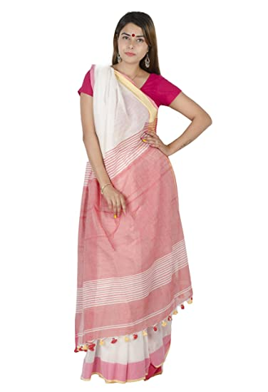 Tribes India Women's Cotton Saree With Blouse Piece (1STXSAROR00085_3_Multicolored)