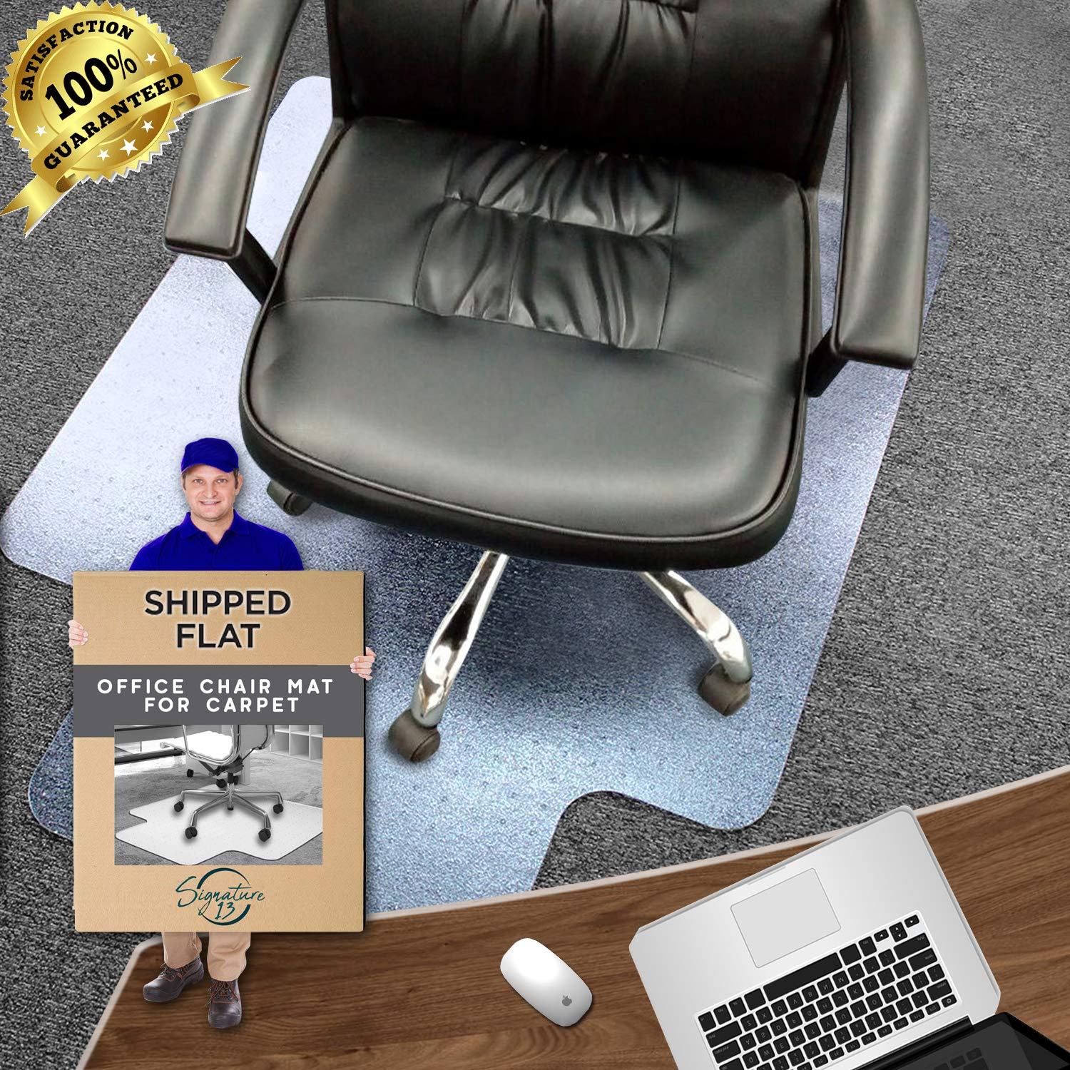 Office Chair Mat | Unbreakable Heavy Duty Polycarbonate Floor Mat for Office & Home | 3MM, 48x36 Inches with Lip | Low, Medium and Semi-High Pile Carpets