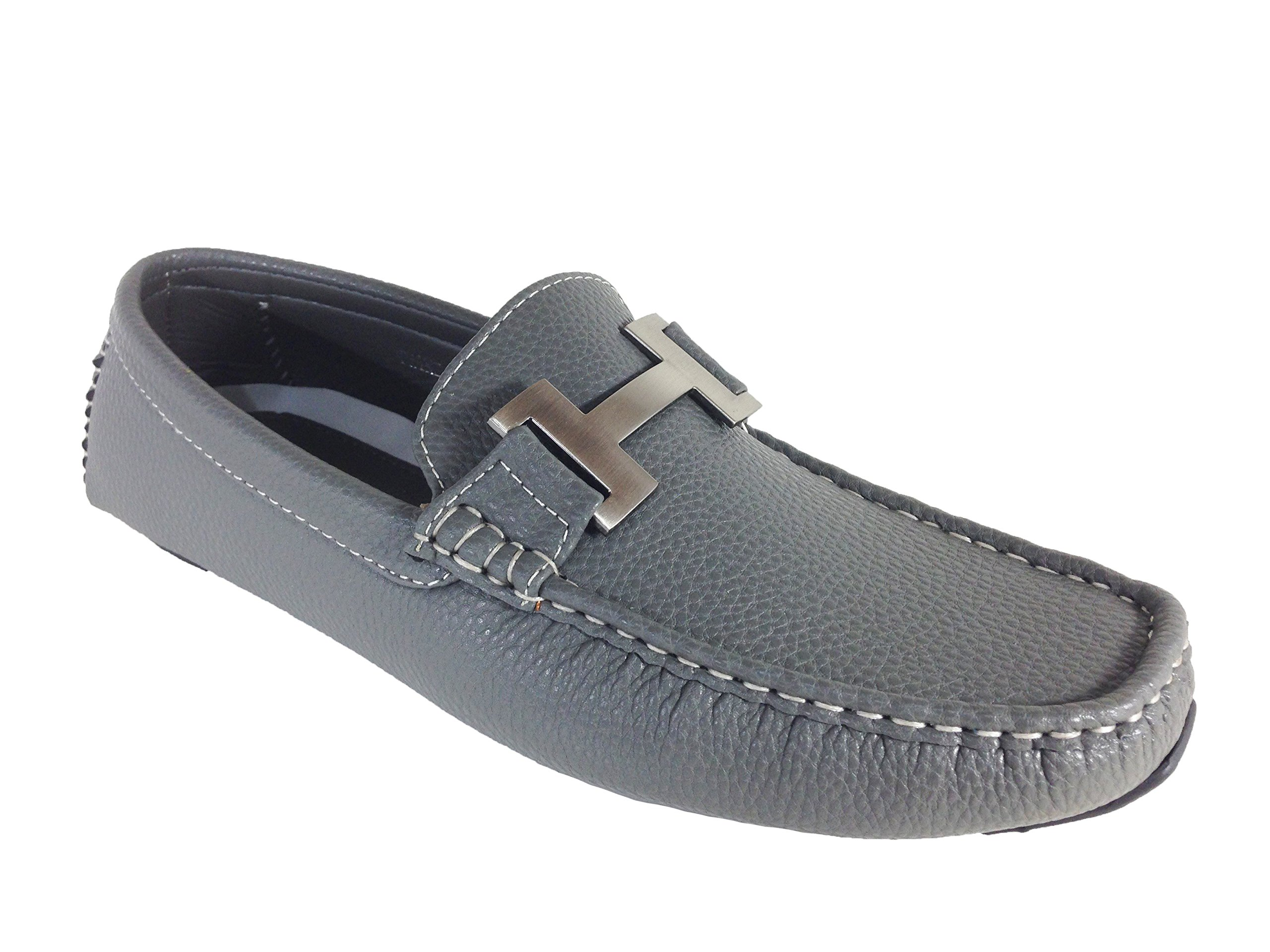 Enzo Romeo Payne03 Men's Casual Light Weight Driving Moccasins Slip On Loafer Shoes (12, Gray)