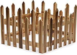 Wooden Picket Fence for Christmas Tree, Garden Border (11.8 x 6.3 in, 4 Pack)