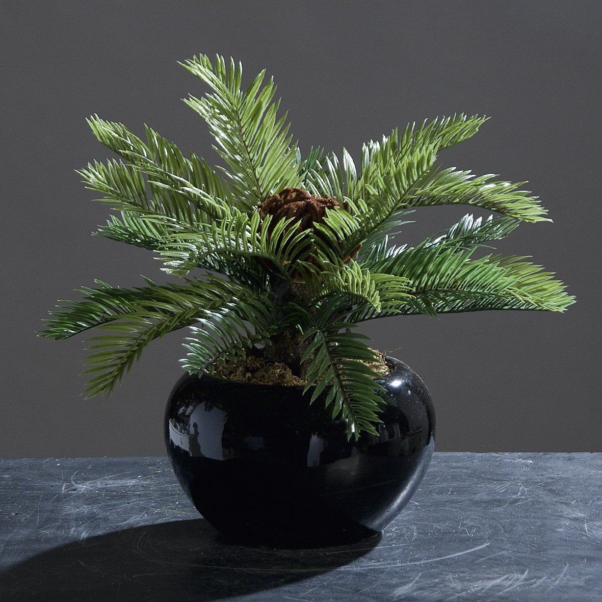 Palme im Keramiktopf Kunstpalme Kunstbaum Baum Grünpflanze Kunstpflanze, 27 cm