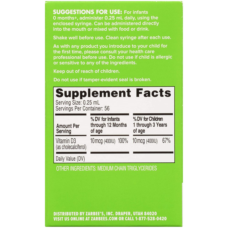 Zarbee's Naturals Baby Vitamin D Supplement, 0 47 Ounce Bottle