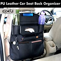 Coku Universal Back Seat Car Organizer Multi Pocket Storage with Document, Water, Bottle Tablet and Tissue Holder (Black)
