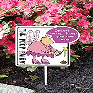 "Imagine This Company PF1004 Poop Fairy I'm Off Today Garden Sign, 10"" x 9.5"", Pink"