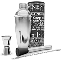 VINENCO Cocktail Shaker Set with Accessories + E–book Recipes – Premium Stainless Steel Cocktail Maker Bar Kit: Martini Mixer + Strainer, Fork/Spoon, Double Jigger Measuring Cup, Muddler, Gift Box