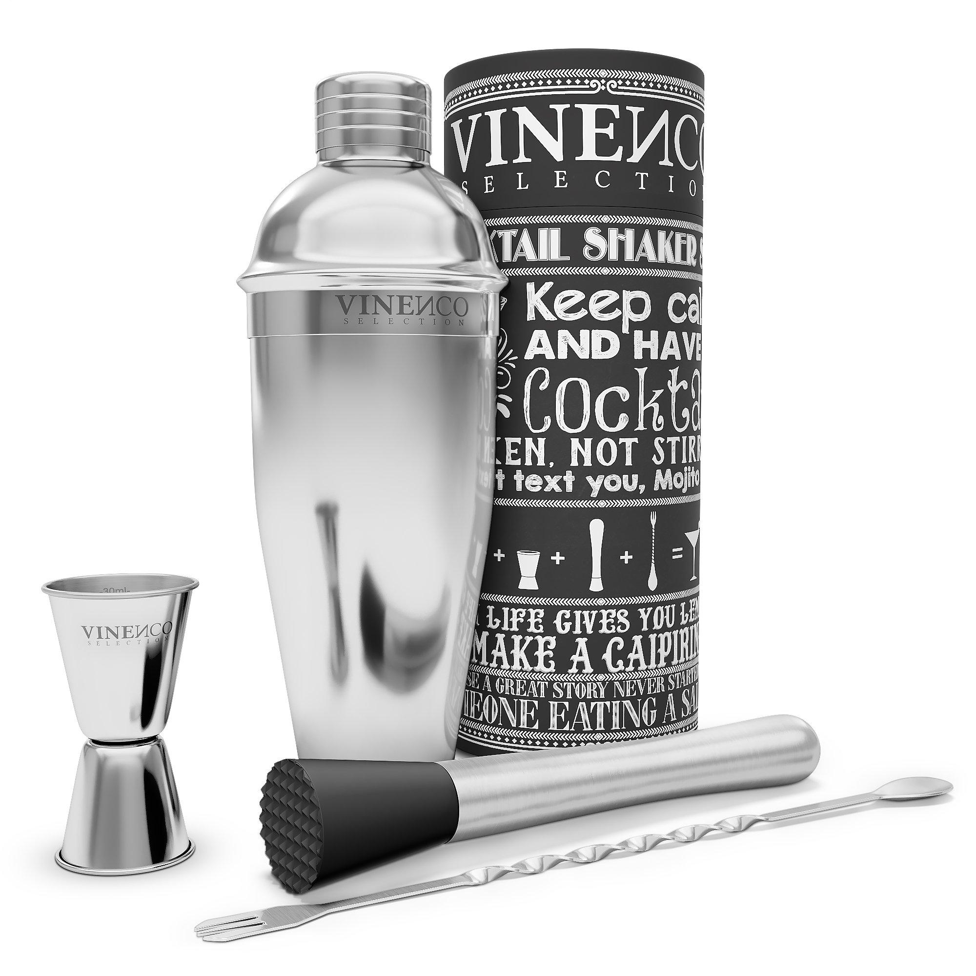 Juego de coctelería complete VINENCO + libro electrónico de recetas – Coctelera de acero inoxidable |