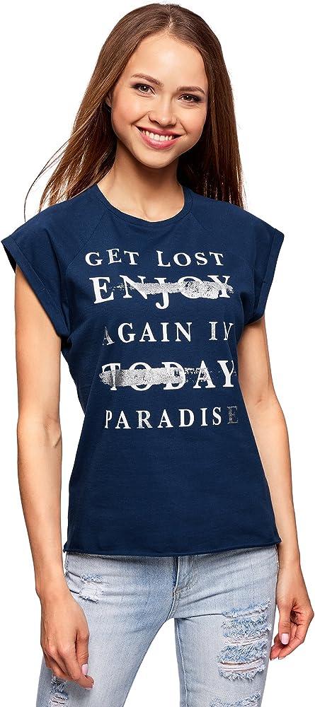 oodji Ultra Mujer Camiseta de Algodón con Estampado, Azul, ES 34 / XXS: Amazon.es: Ropa y accesorios