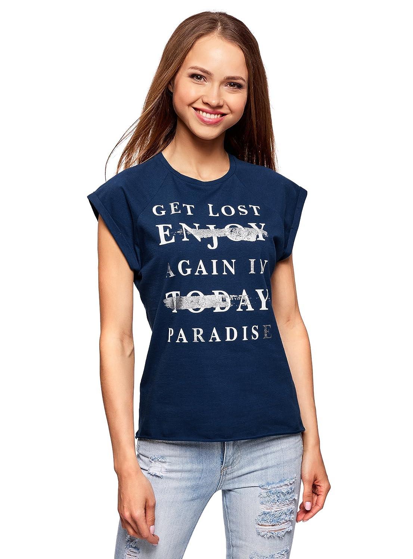 oodji Ultra Donna T-Shirt in Cotone con Stampa Senza Etichetta RIFICZECH s.r.o. 14707001-32