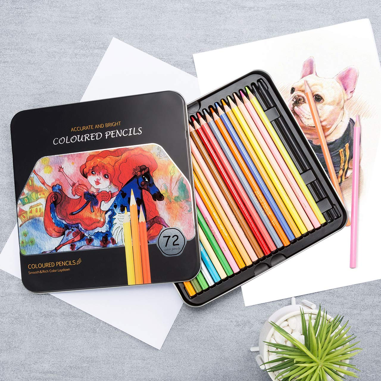 Sketching Premier Coloring Pencil Set with 3.3mm Hard Core VicTsing 72 Colored Pencils Drawing Colouring Books 2019 Upgraded Exquisite Mental Box Pre-Sharpened Pencils for Painting