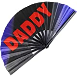 Pride Fans Daddy Large Bamboo Vibrant Durable Fabric Loud Clack Festival Fan Rave Drag Queen Fan LGBTQ