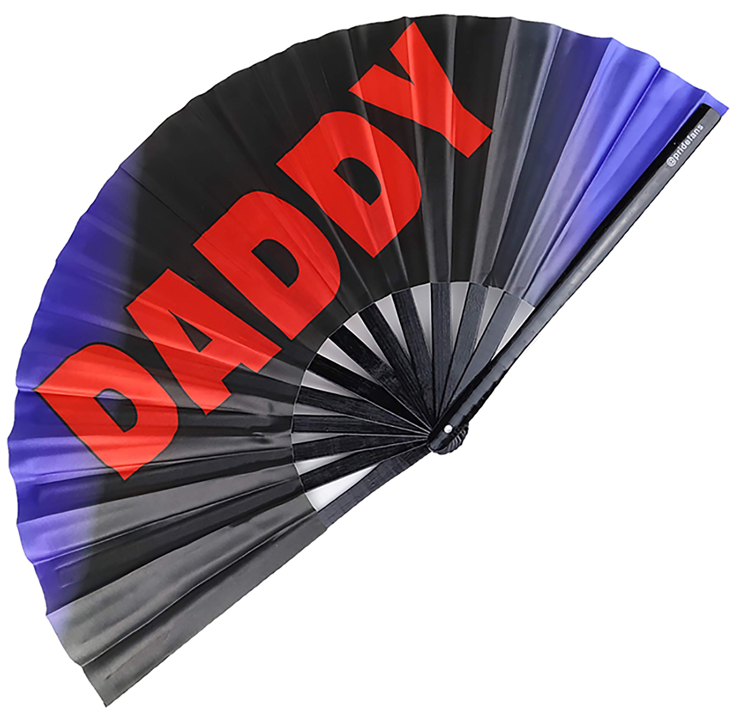 Pride Fans Daddy Large Bamboo Durable Fabric Rigid Rivet Loud Clacks Gay Rave Fan LGBTQ Festival Fan Hand Fan Drag Queen Fan Rainbow Fan Queer Gift Daddy Fans