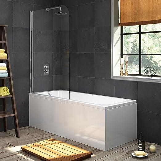 1700 mm solo bañera moderna bañera recta + 1000 mm mampara de ducha BL121: iBathUK: Amazon.es: Hogar