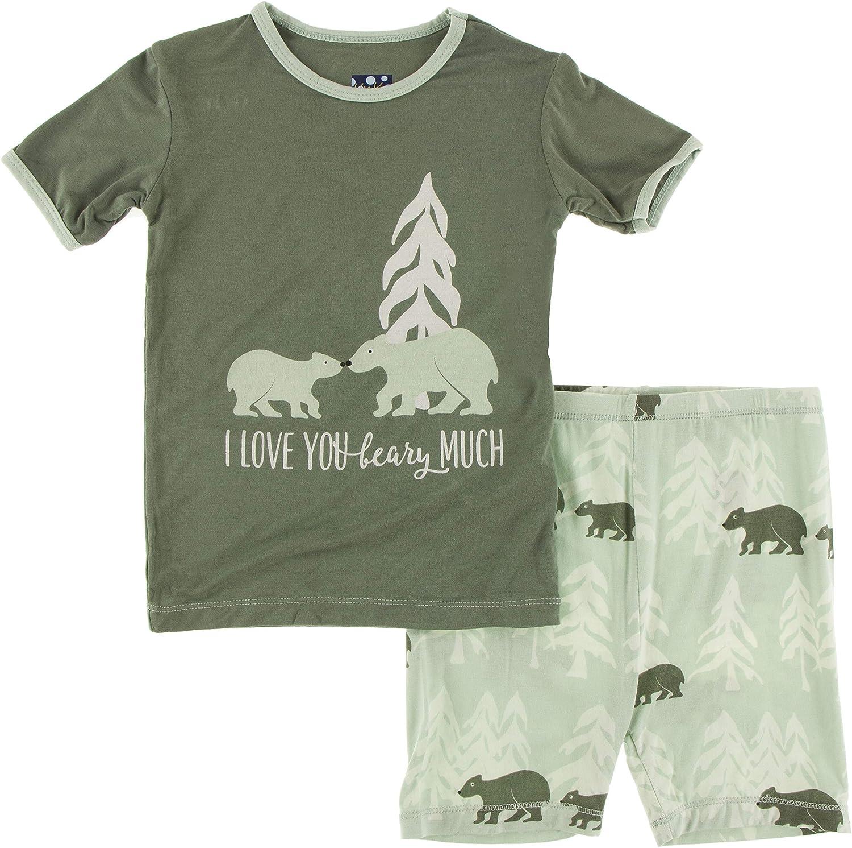 KicKee Pants Short Sleeve Piece Print Pajama Set with Shorts