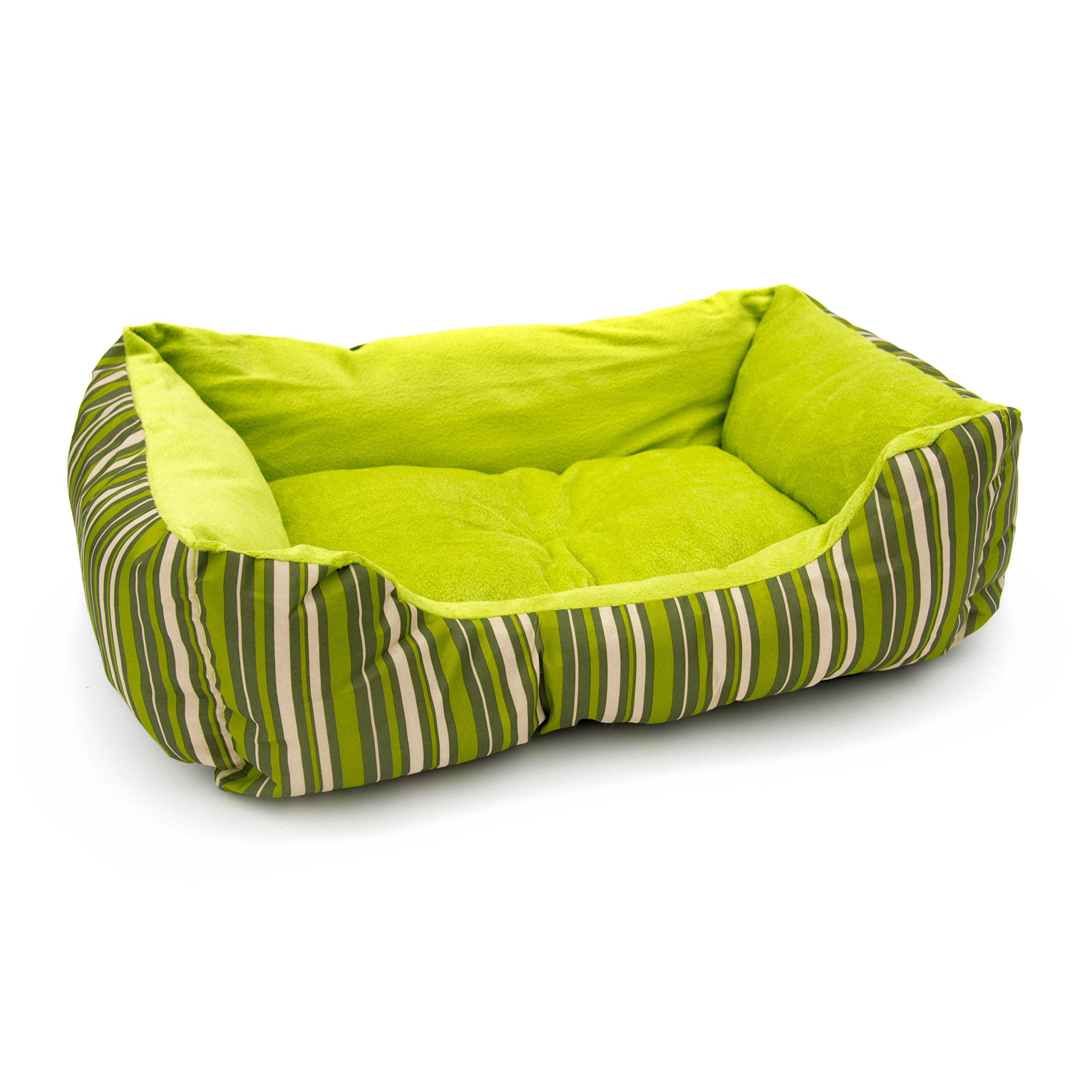 ALEKO PB06STGR Plush Pet Cushion Crate Bed for Dogs Cats Medium Machine Washable Indoor Outdoor 20 x 16 x 6 Inches Green Striped