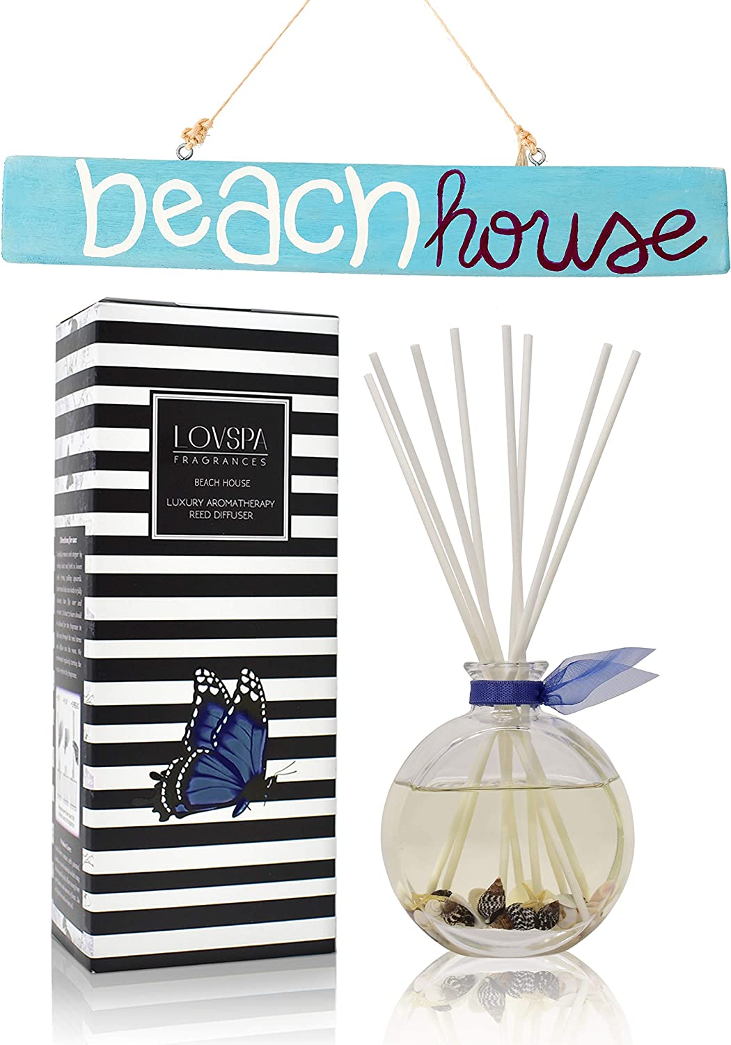 LOVSPA Beach House Reed Diffuser Oil Gift Set | Marine Grass, Sea Salt, Blue Lotus, Honeydew Melon, Jasmine & Aquatic Musk | Real Seashells in The Bottle! | Gorgeous Display for Your Ocean Home Décor