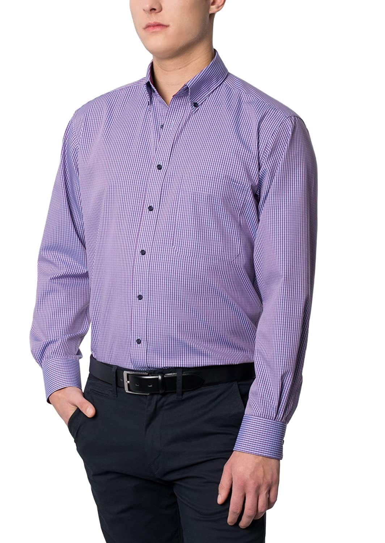ETERNA Men's COMFORT FIT long sleeve shirt bordeaux red plaid