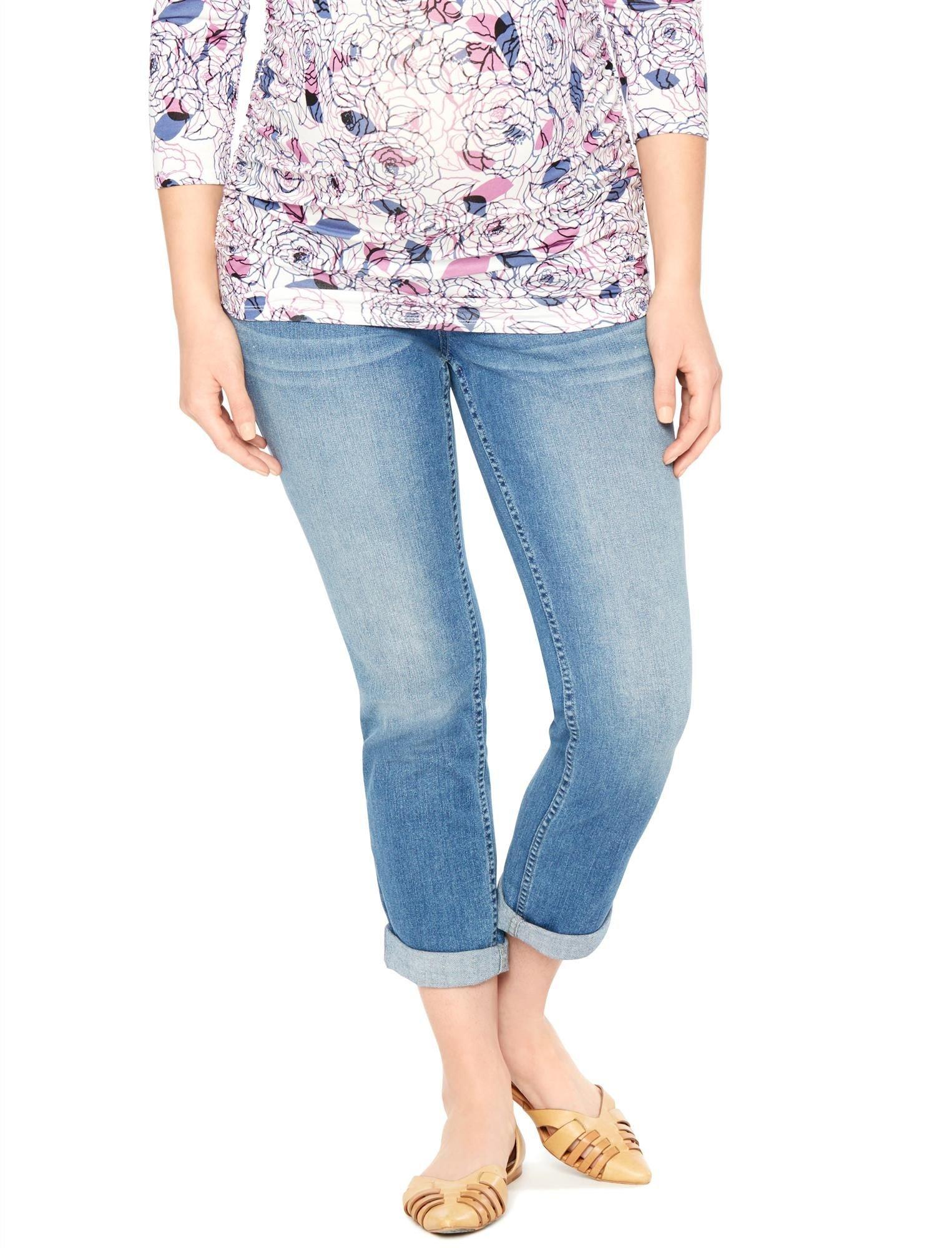 Motherhood Indigo Blue Secret Fit Belly Straight Leg Maternity Crop Jeans