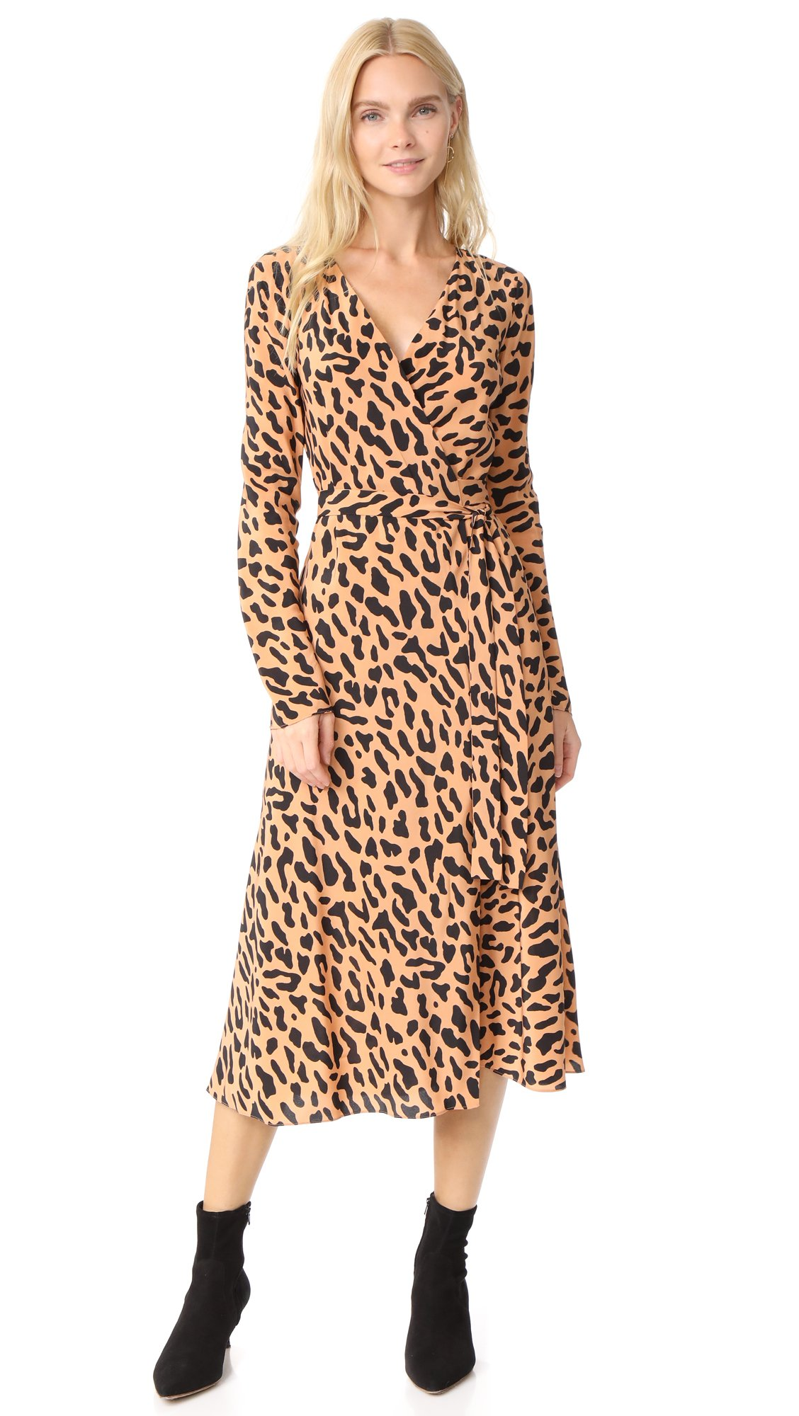 Diane von Furstenberg Women's L / S Woven Wrap Dress, Belmont Camel, 4