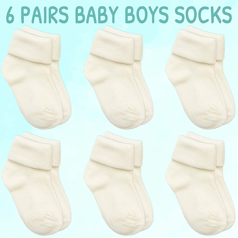 Baby Boys Turn Over Top Socks 3 6 Pairs Bundle Plain Cotton Rich Blue Cream