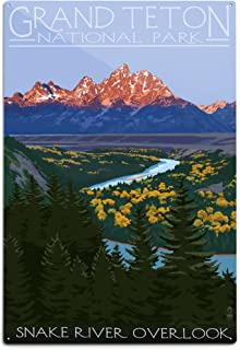 product image for Lantern Press Grand Teton National Park, Wyoming - Snake River Overlook 33918 (6x9 Aluminum Wall Sign, Wall Decor Ready to Hang)