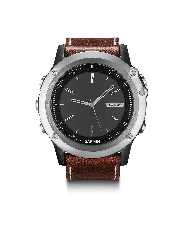 Garmin Multisport-GPS-Uhr fēnix 3 Saphir, Silber mit Lederarmband, Bundle, Schwarz, OneGröße, 0753759152642
