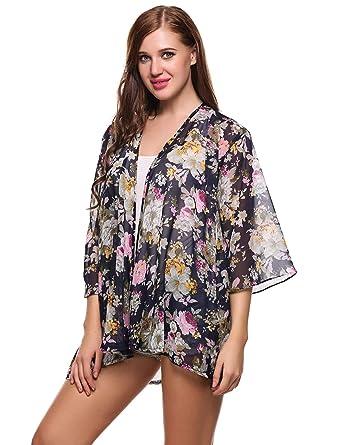 5b21016a5bad6 Jingjing1 Women Bohemia Cardigan Sweaters, Casual 3/4 Sleeve Floral Print  Sheer Chiffon Kimono Cover up Swimwear Top Blouse at Amazon Women's  Clothing store ...