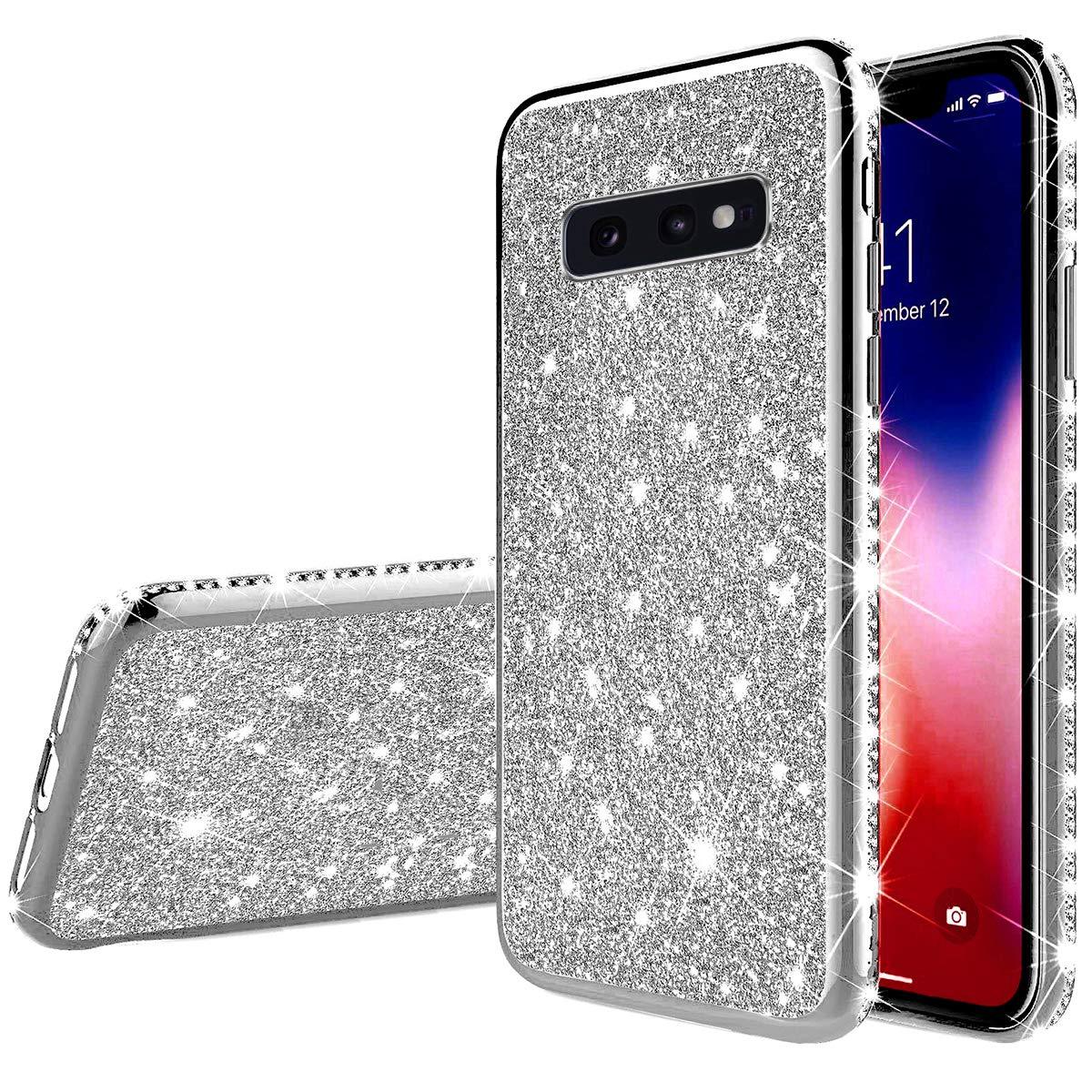 Ysimee Compatible avec Coque Samsung Galaxy S10e Paillette Glitter Brillant Strass Housse en Silicone Cristal Transparent Case Ultra Slim Souple Etui de Protection Absorption des Chocs Bumper,Argent
