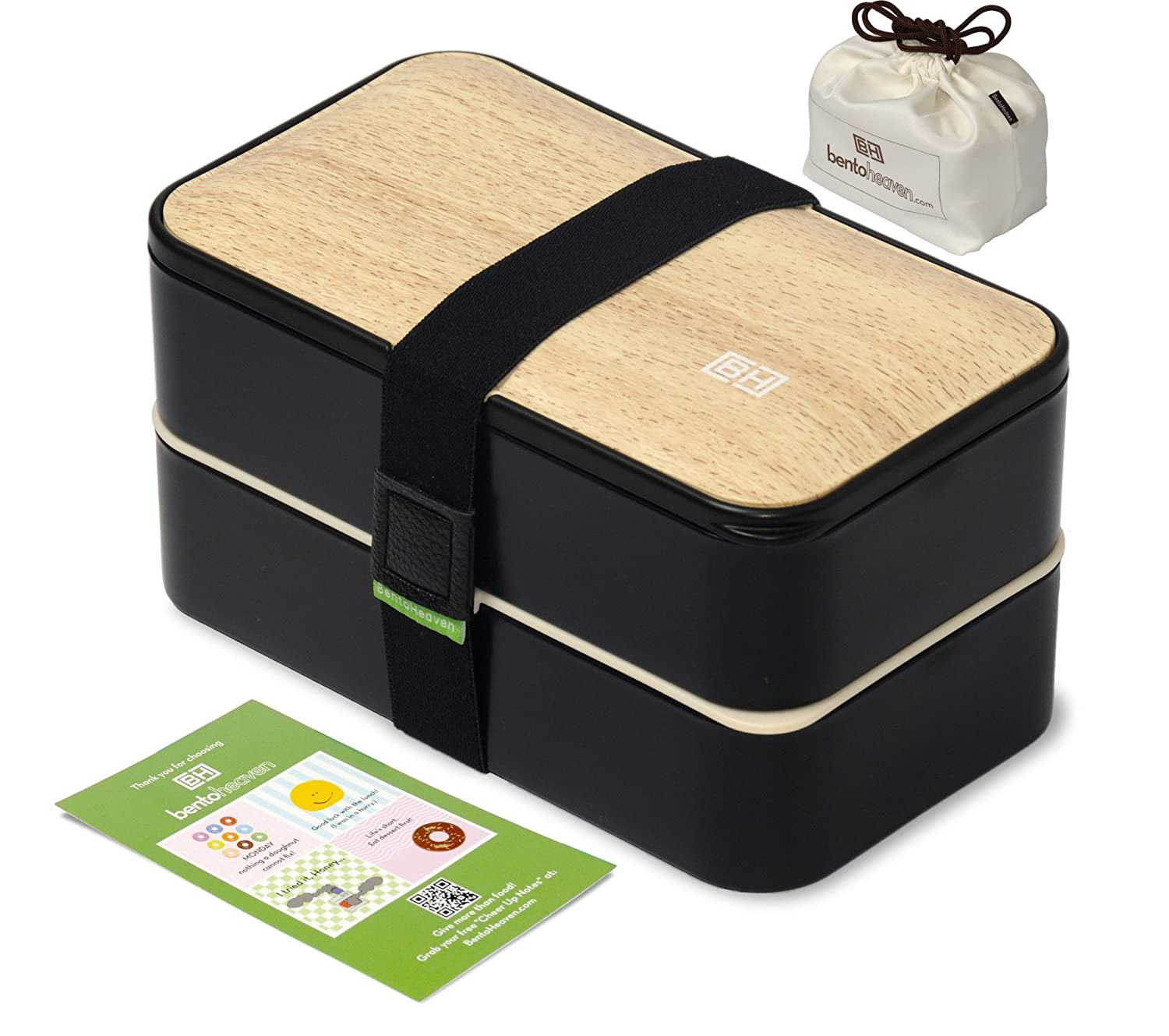 Original BentoHeaven Bento Box Bundle with FREE Lunch Bag, Divider, Utensils, Chopstick & Fun Lunch Box Notes - Leakproof Lunch Boxes - Bamboo Black BH-301BB