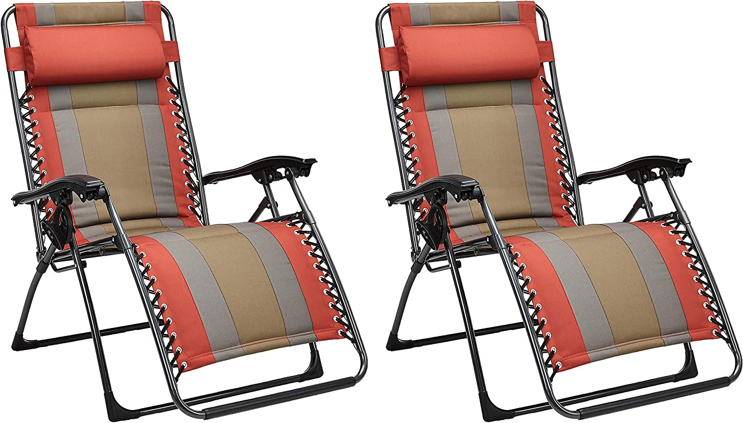 Basics Outdoor Padded Zero Gravity Lounge Beach Chair - Pack of 2, 65 x 29.5 x 44.1 Inches, Tan : Garden & Outdoor