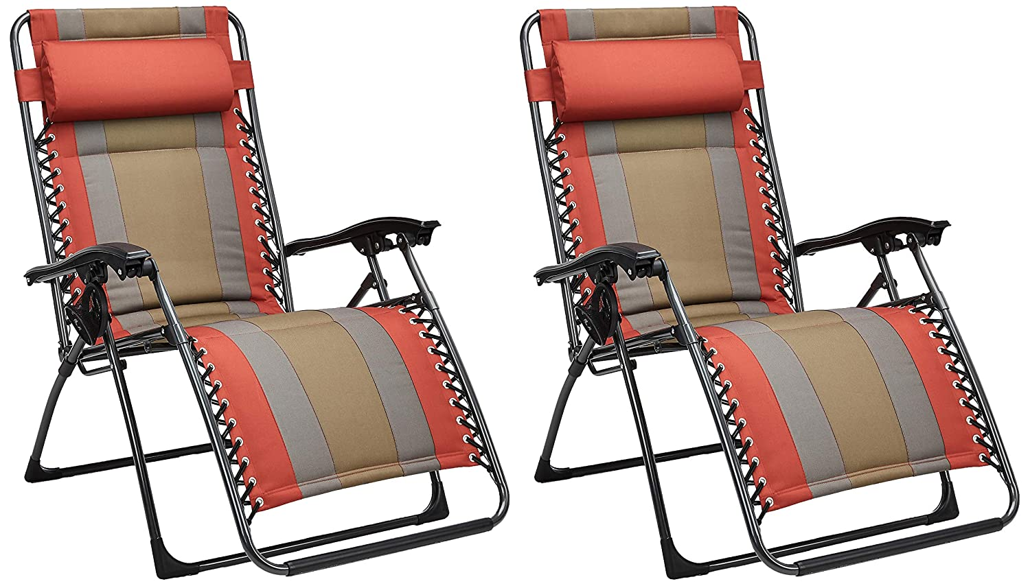 Padded Zero Gravity Chair- Red, 2 Pack