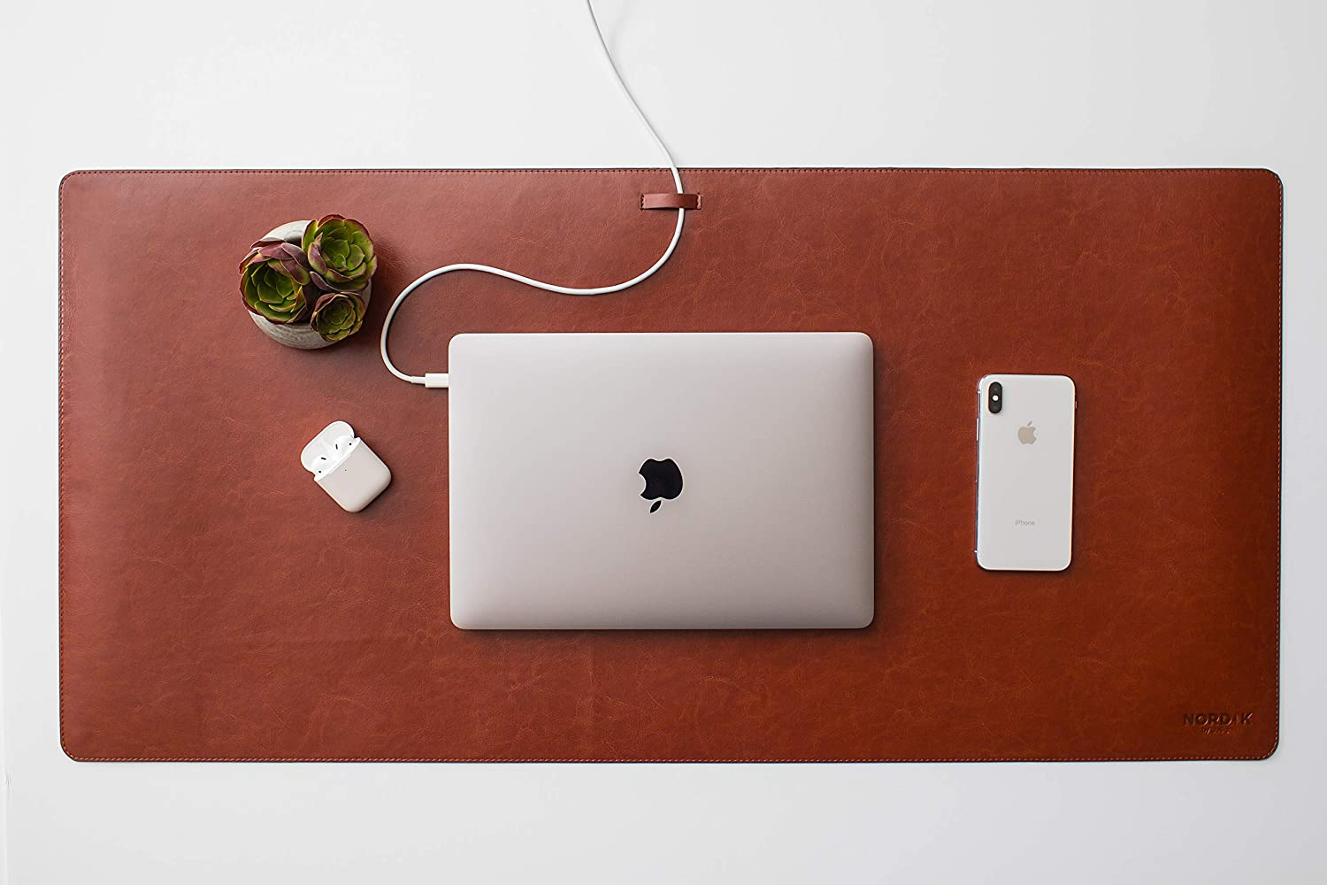 """Leather Desk Pad with Cable Management (Saddle Brown 35"""" x 17"""") Premium Extended Mouse Mat for Home Office - Non-Slip Vegan Leather Desk Protector"""