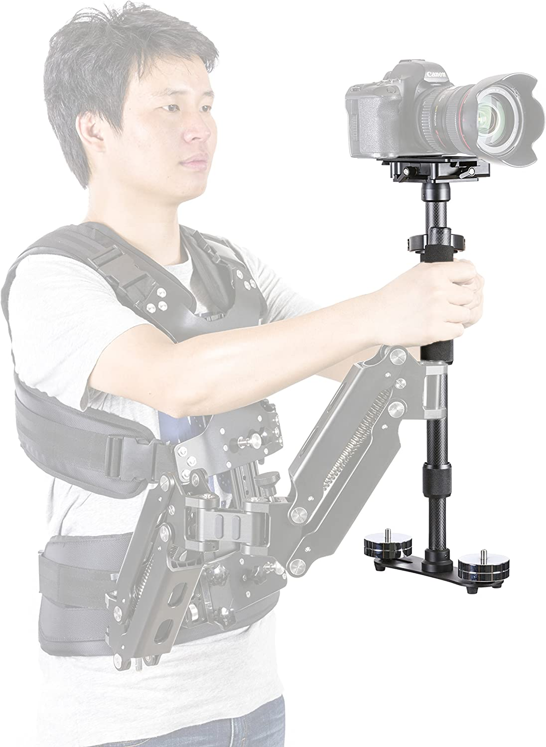 Quick-Release Platform Movo VS9 Handheld Carbon Fiber Video Stabilizer System with Micro-Balancing Adjustments Chrome Counterweights for DSLR Cameras and Camcorders