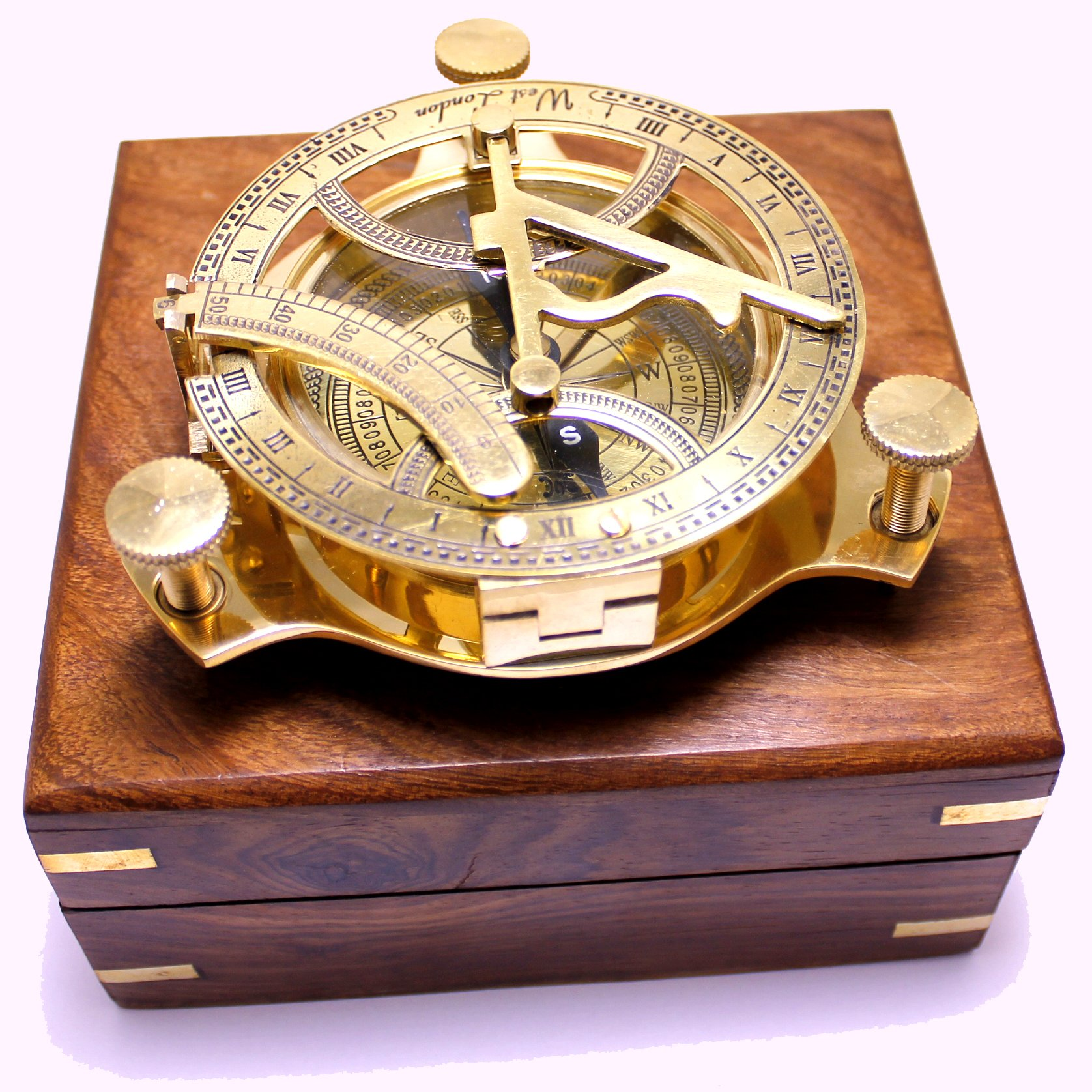 Captain's Brass Triangle Sundial Compass 4'' - Brass Desk Compasses - Nautical Decor Home Decoration - Executive Promotional Gift