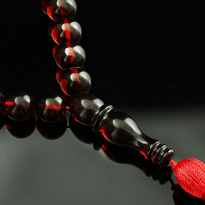 Authenticity Natural Baltic Amber // 9 mm Tasbih Red Muslim Islamic Rosary 33 Round Prayer Beads by Baltic Amber Handmade//Genuine 19 GRAMS//New//Cherry Burgundy//Misbaha