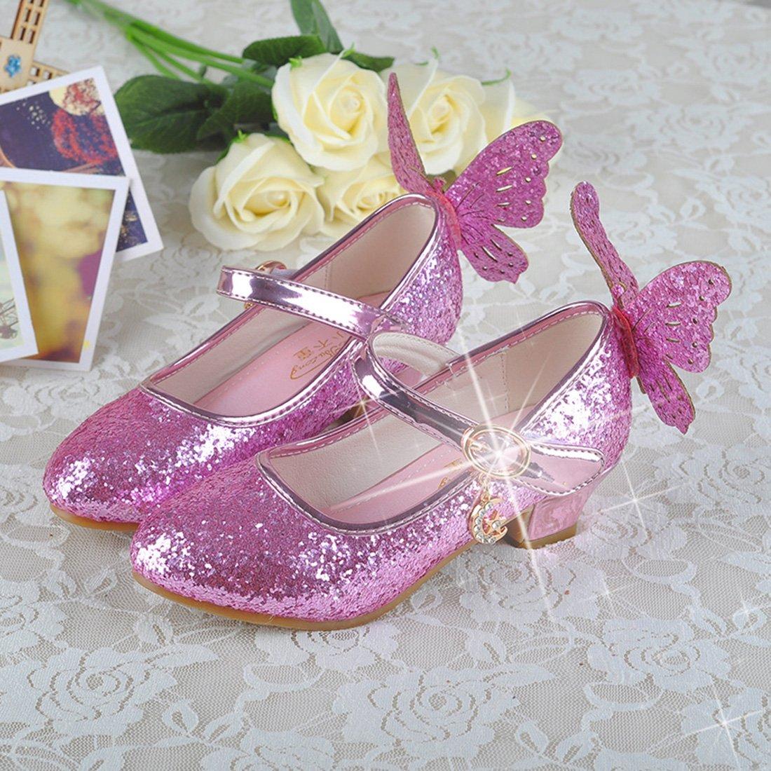 Yy.f YYF Fille Ballerines Mignon avec Paillettes et Papillon Brillant f6bf2c5a4b9a
