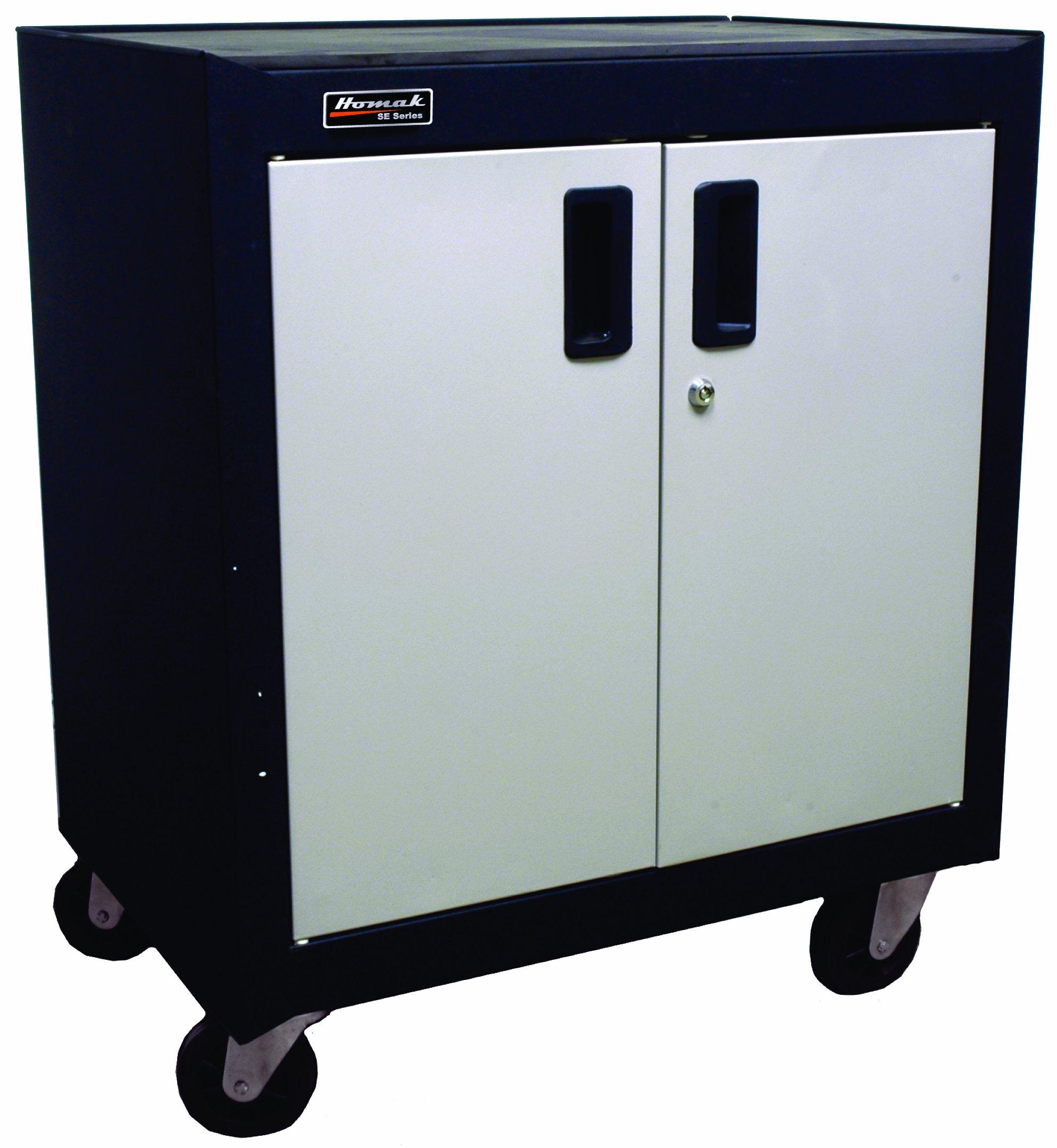 Homak GS04002270 2 Door Mobile Cabinet with Gliding Shelf, Steel