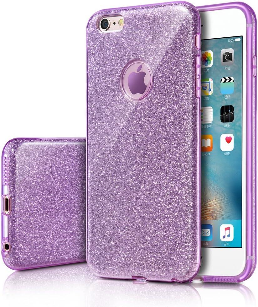MILPROX iPhone 6s Plus/6 Plus Case, Bling Glitter Pretty Sparkle 3 Layer Hybrid Anti-Slick/Protective/Soft Slim TPU Case for Girls/Women iPhone 6s Plus / 6 Plus- Purple