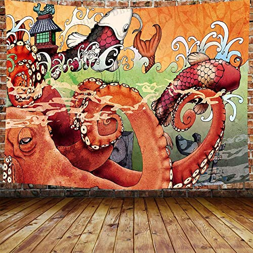 DBLLF Large Octopus Koifish Wave Painting Wall Tapestry Japanese Style Wall Hanging Decorative Red Octopus Koifish Ukiyoe Wall Blanket Traditional Wall D cor Wall 80X60 Inches DBLS1247