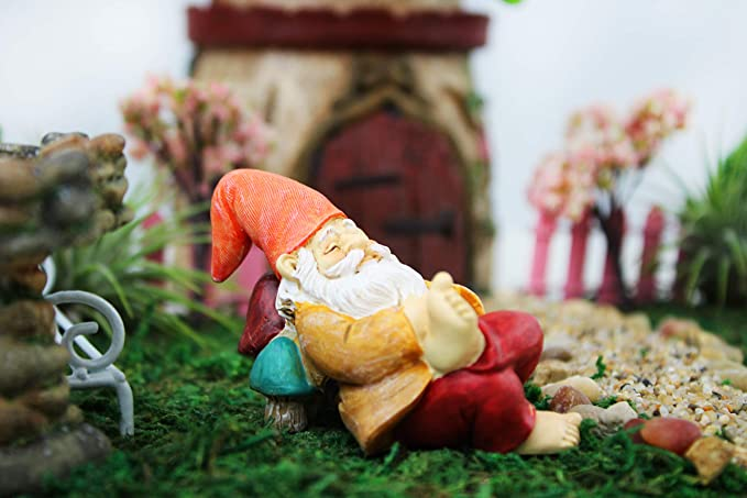 NW Wholesaler Fairy Garden Supply - Gnome Figurine - Napping Gnome
