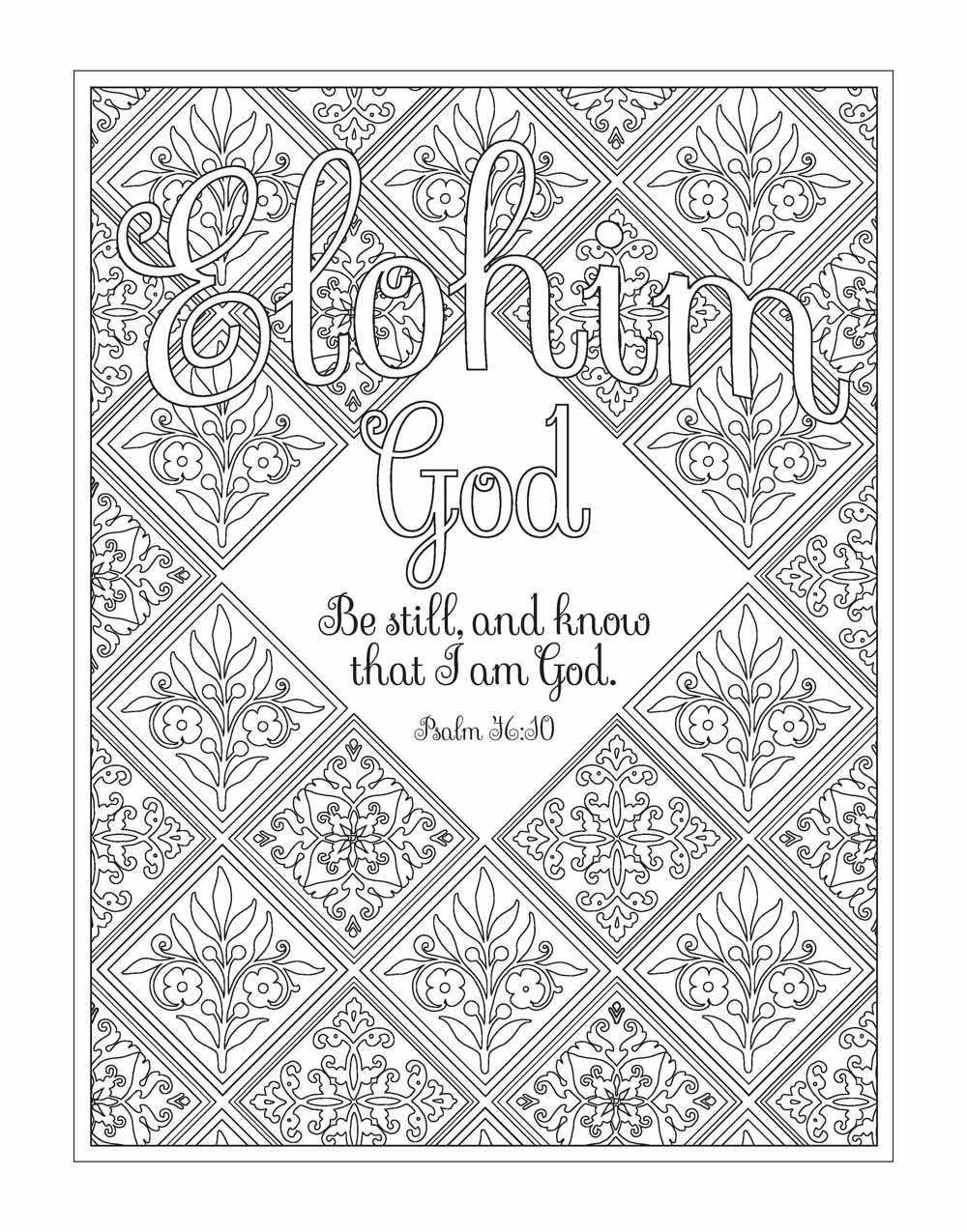 Amazoncom Color the Names of God An Adult Coloring Book for