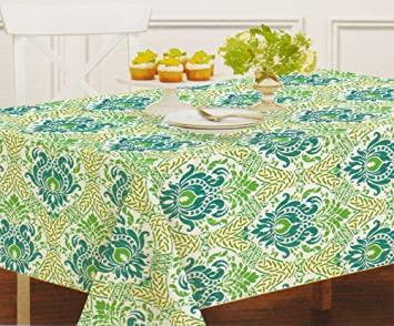 Waverly Blue Green Print Zippered Umbrella Tablecloth (70 Round Umbrella)