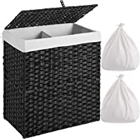 Greenstell Laundry Hamper with 2 Removable Liner Bags, Divided Clothes Hamper, 110L Handwoven Synthetic Rattan Laundry…