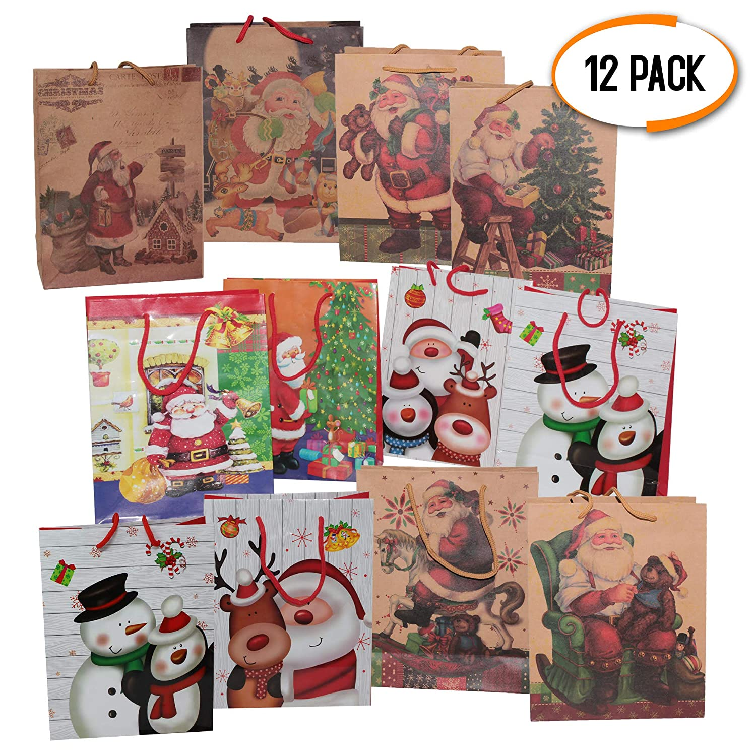 12 Christmas Themed Gift Paper Bags Set Assorted Designs Perfect for Xmas /& Party Gifts and Present Wrapping