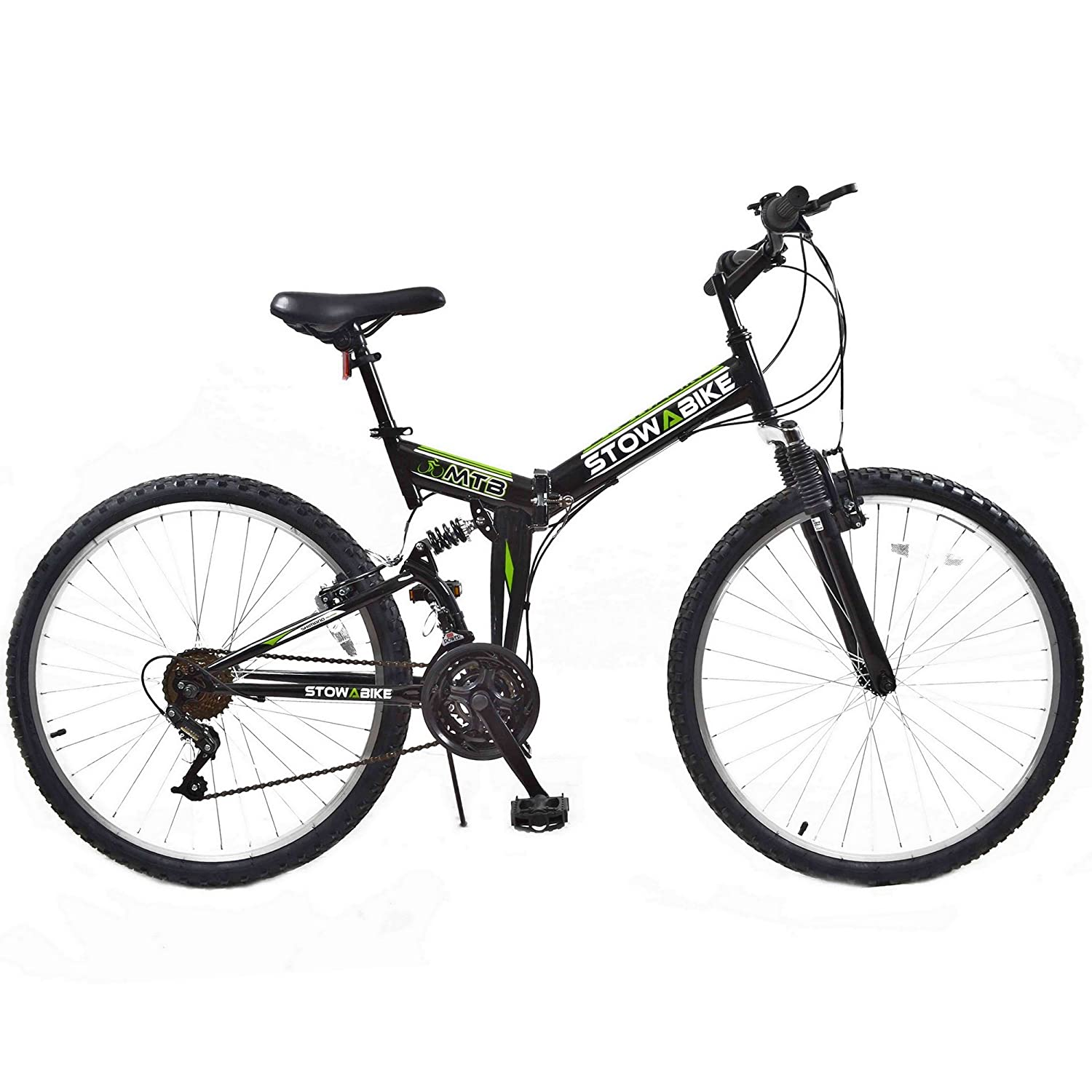 "Stowabike 26"" MTB V2 Folding Dual Suspension Mountain Bike Black"