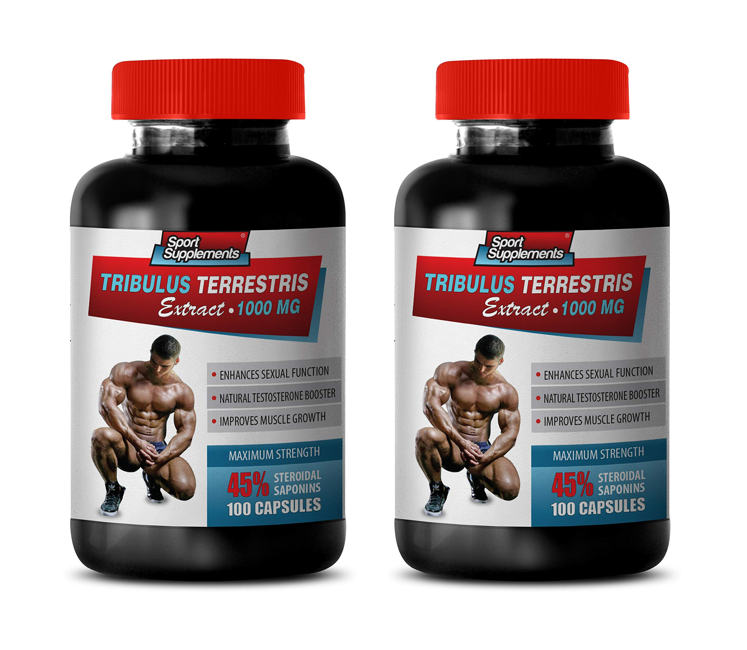 libido Care Extract - TRIBULUS TERRESTRIS Extract 1000MG - 45% STEROIDAL SAPONINS - Maximum Strength - tribulus Nutrition - 2 Bottles 200 Capsules by Sport Supplements